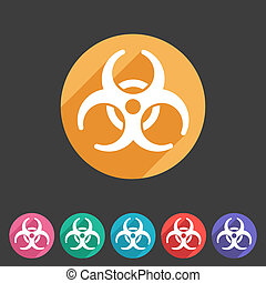 Biohazard flat icon badge and sign with shadow