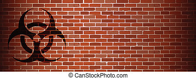 Biohazard graffiti on brick wall illustration