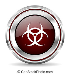 biohazard icon chrome border round web button silver metallic pushbutton