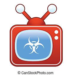 biohazard, ikone, auf, retro, fernsehen