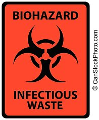 Biohazard Infectious Waste Safety Sign. Black on orange...