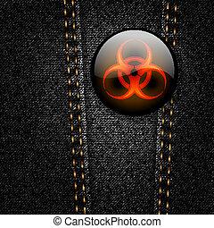biohazard, insignia, negro, tela vaquera, vector