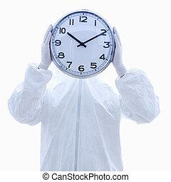 Biohazard man with clock.