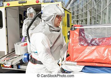 biohazard, membro, medico, barella, squadra