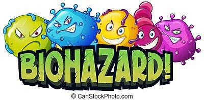 biohazard, mot, virus, cellules, police, conception