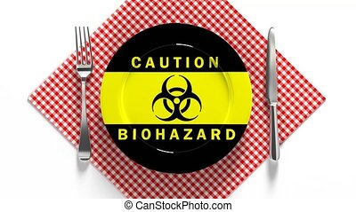 Biohazard of food contamination. Coronavirus infection. ...