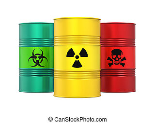 Biohazard, Radioactive and Poisonous Barrels Isolated -...