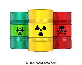 Biohazard, Radioactive and Poisonous Barrels Isolated -...
