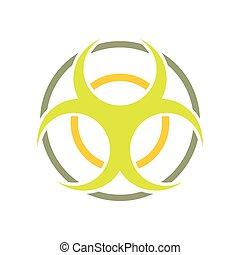 Biohazard sign round flat icon