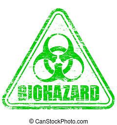 Biohazard Stamp - Rubber stamp illustration showing...