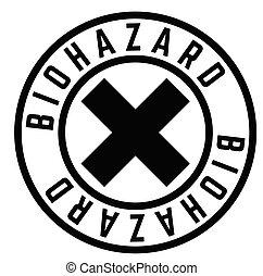 biohazard stamp on white