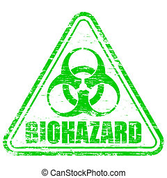 """Rubber stamp illustration showing """"BIOHAZARD"""" text and symbol"""