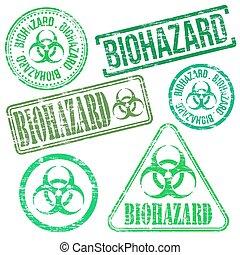 Biohazard Stamps - Biohazard stamps. Different shape vector...