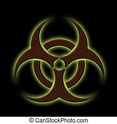 Biohazard - Illustration of a rusty biohazard symbol with...