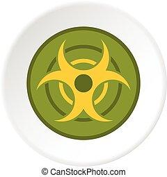 Biohazard symbol icon circle - Biohazard symbol icon in flat...