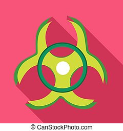 Biohazard symbol icon in flat style
