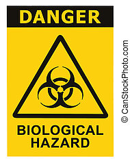 Biohazard symbol sign of biological threat alert, black yellow triangle signage text isolated