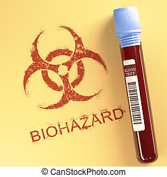 Biohazard - Test tube with contaminated blood. Symbol on...