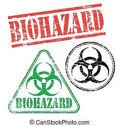 biohazard, timbres, caoutchouc
