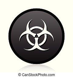 Biohazard vector black icon. Round virus sign. Web bacteria symbol.