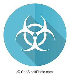 Biohazard vector icon, flat design blue round web button isolated on white background