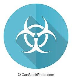 Biohazard vector icon, flat design blue round web button isolated on white background