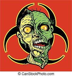 biohazard zombie design used for horror signs or halloween decorations