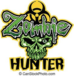 biohazard zombie hunter design with dead skull
