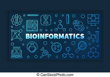 Bioinformatics blue outline banner. Vector linear...