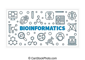 Bioinformatics vector illustration or banner in thin line...