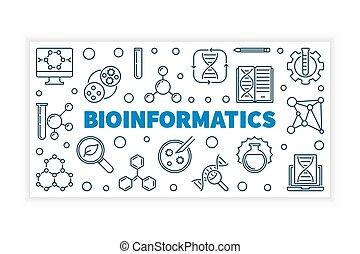 Bioinformatics vector illustration or banner in thin line...