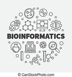 Bioinformatics vector round illustration in thin line style...