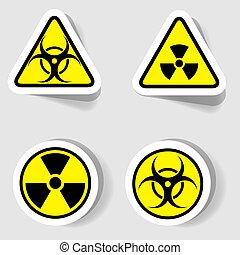 biológico, contaminación, radioactivo, señales