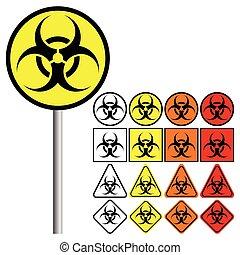 biológico, peligros, (, biohazard, ), símbolo, icono