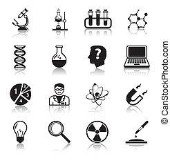 biología, conjunto, iconos, ciencia, química, o