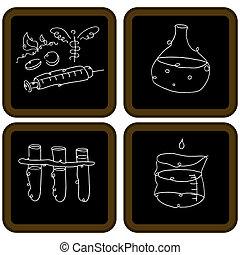 biologi, chalkboard, ikonen