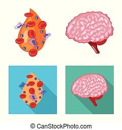 biologi, kollektion, skylt., laboratorium, illustration, ...