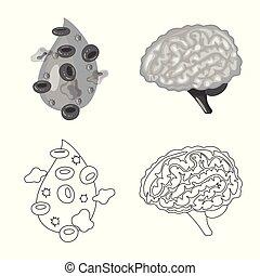 biologi, vetenskaplig, symbol, web., symbol., kollektion, ...