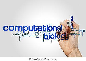 biologia, computational, parola, nuvola