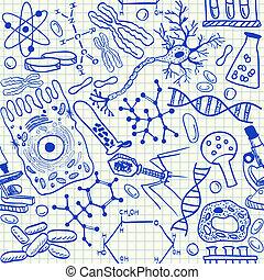 biologia, doodles, seamless, padrão