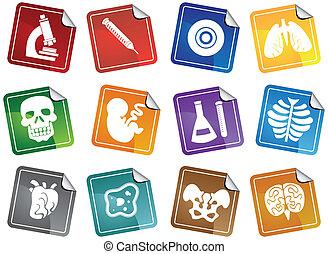 biologia, icona, adesivo, set