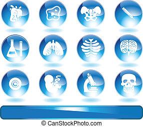 biologia, komplet, błyszczący, okrągły, ikona