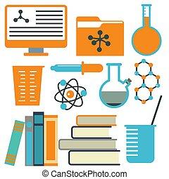 biologia, naukowy, ikony, nauka, medyczny, pracownia,...