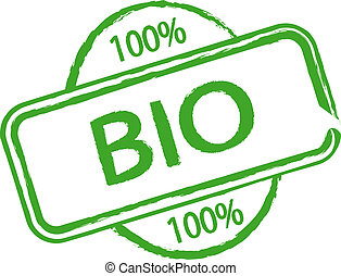 An illustrated stamp that says something is 100% biological. All on white background.