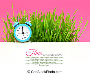 """""""Biological"""" clock concept, with grass and pink background"""