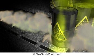 Biological hazard barrels.
