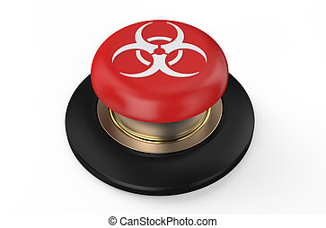 Biological hazard red button isolated on white background