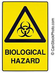 Biological hazard warning sign - A yellow biological warning...