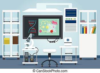 Biological research lab interior