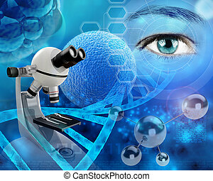 biological research - microscope and human eye in a ...
